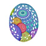 India Ornaments Mandala Balls Multicolored Oval Filigree Ornament (2-Side)  Front