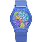 India Ornaments Mandala Balls Multicolored Round Plastic Sport Watch (S) Front