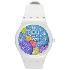 India Ornaments Mandala Balls Multicolored Round Plastic Sport Watch (M)
