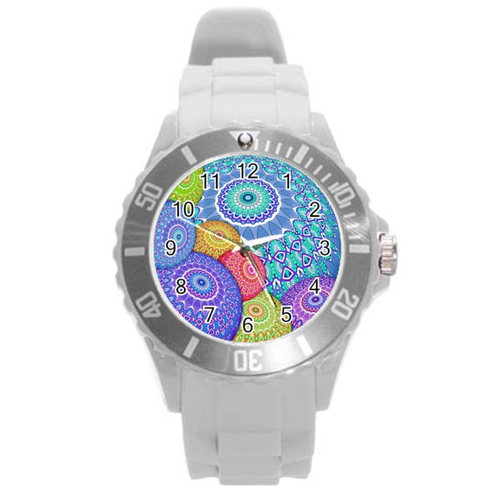 India Ornaments Mandala Balls Multicolored Round Plastic Sport Watch (L)