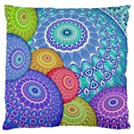 India Ornaments Mandala Balls Multicolored Large Cushion Case (Two Sides) Back