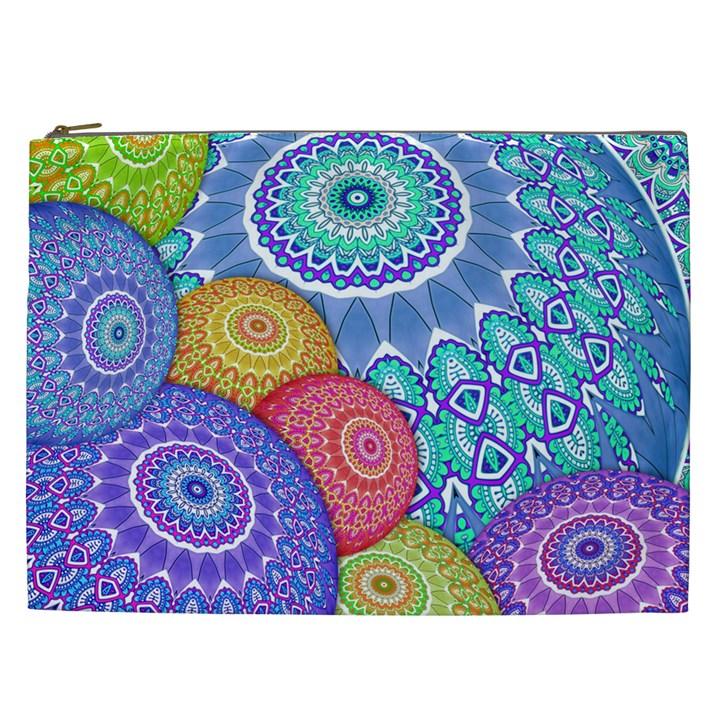 India Ornaments Mandala Balls Multicolored Cosmetic Bag (XXL)