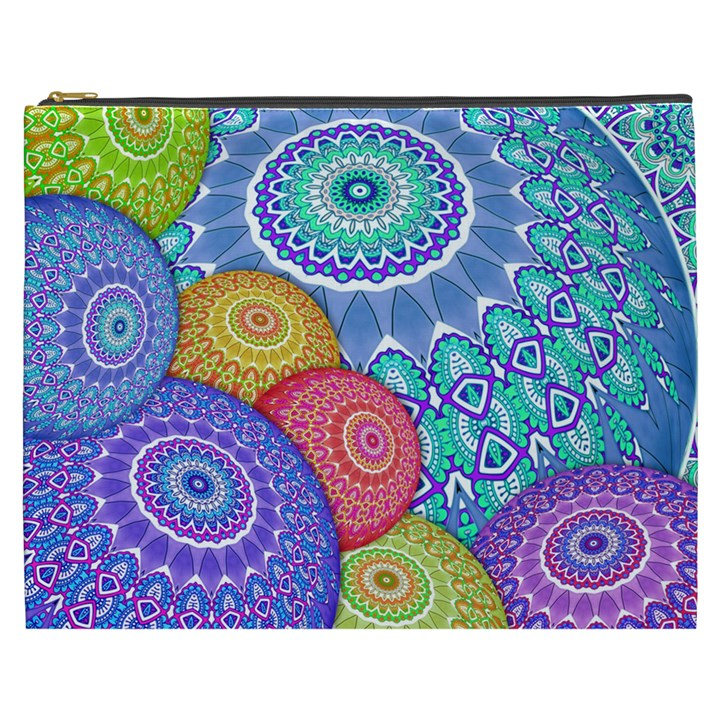 India Ornaments Mandala Balls Multicolored Cosmetic Bag (XXXL)