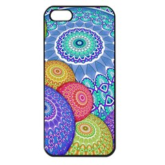 India Ornaments Mandala Balls Multicolored Apple iPhone 5 Seamless Case (Black)