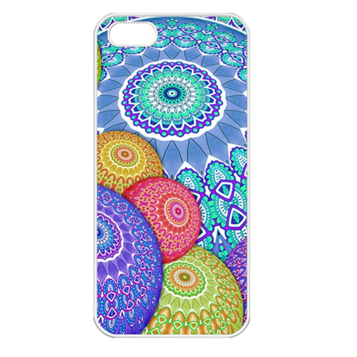 India Ornaments Mandala Balls Multicolored Apple iPhone 5 Seamless Case (White)