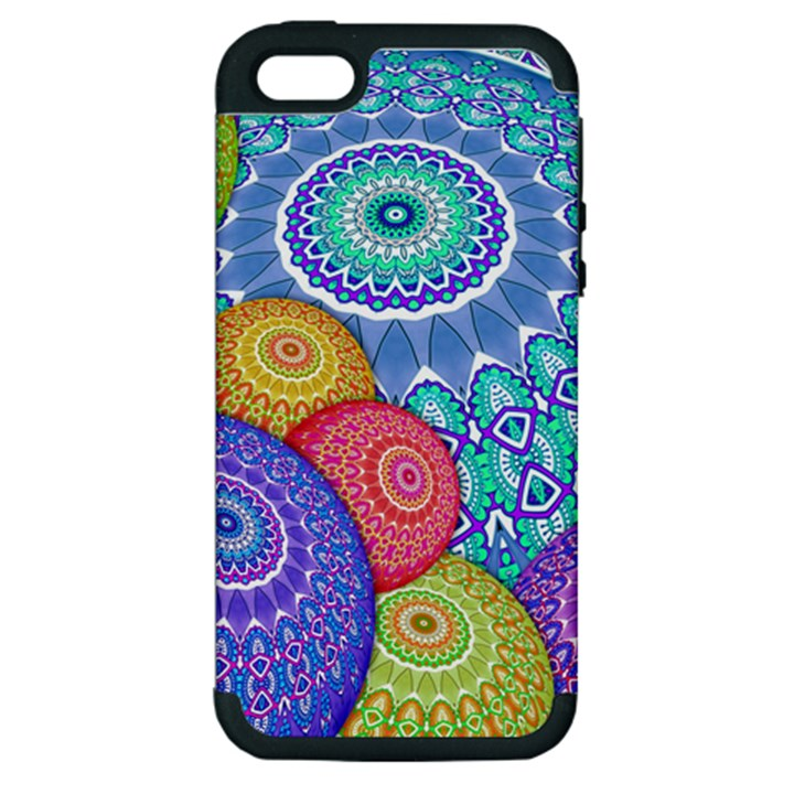 India Ornaments Mandala Balls Multicolored Apple iPhone 5 Hardshell Case (PC+Silicone)