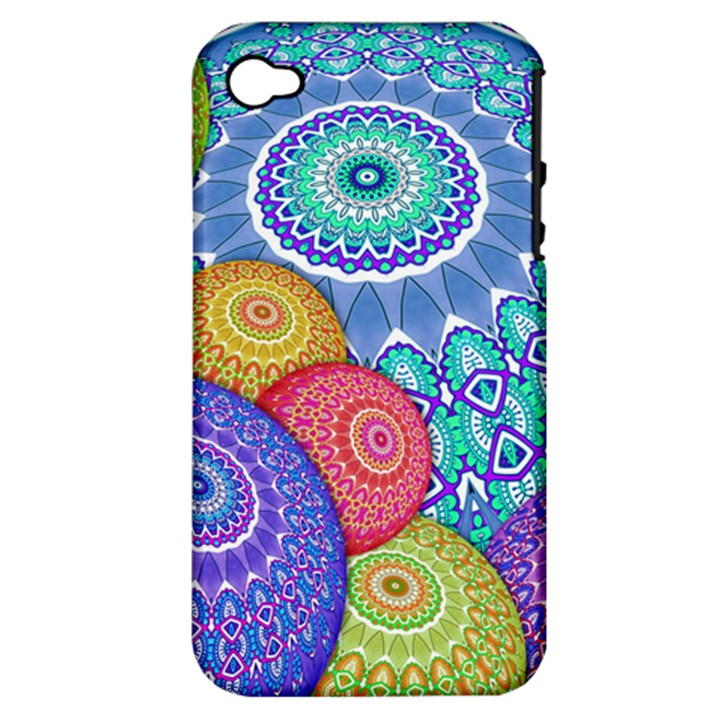 India Ornaments Mandala Balls Multicolored Apple iPhone 4/4S Hardshell Case (PC+Silicone)