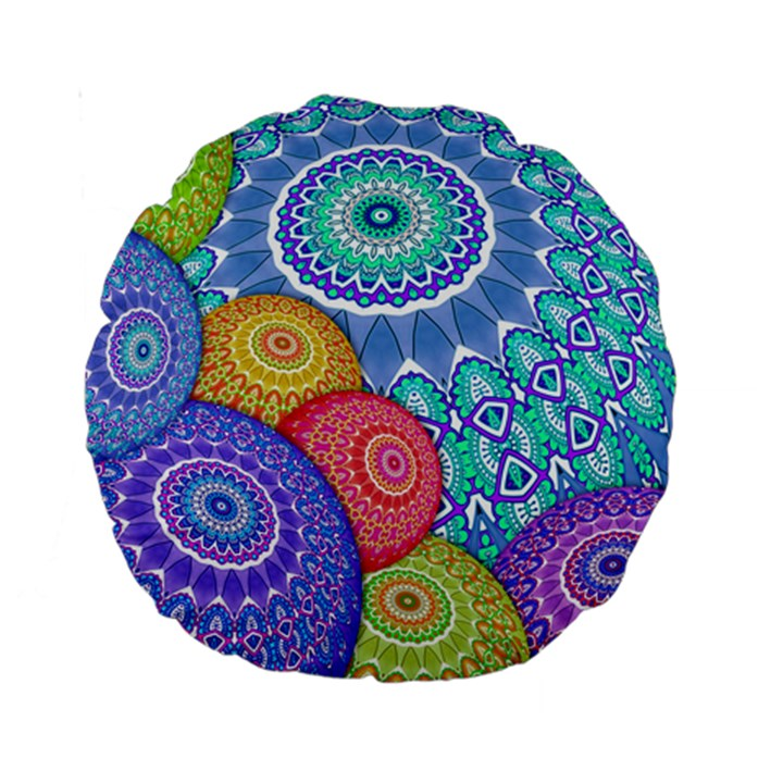India Ornaments Mandala Balls Multicolored Standard 15  Premium Round Cushions