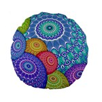 India Ornaments Mandala Balls Multicolored Standard 15  Premium Round Cushions Back
