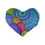 India Ornaments Mandala Balls Multicolored Standard 16  Premium Heart Shape Cushions Front