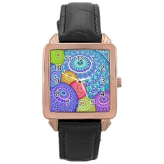 India Ornaments Mandala Balls Multicolored Rose Gold Leather Watch