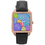 India Ornaments Mandala Balls Multicolored Rose Gold Leather Watch  Front