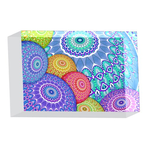 India Ornaments Mandala Balls Multicolored 4 x 6  Acrylic Photo Blocks
