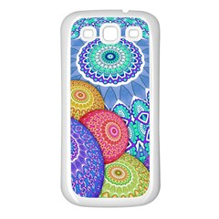 India Ornaments Mandala Balls Multicolored Samsung Galaxy S3 Back Case (White)