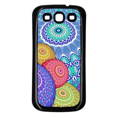 India Ornaments Mandala Balls Multicolored Samsung Galaxy S3 Back Case (Black)