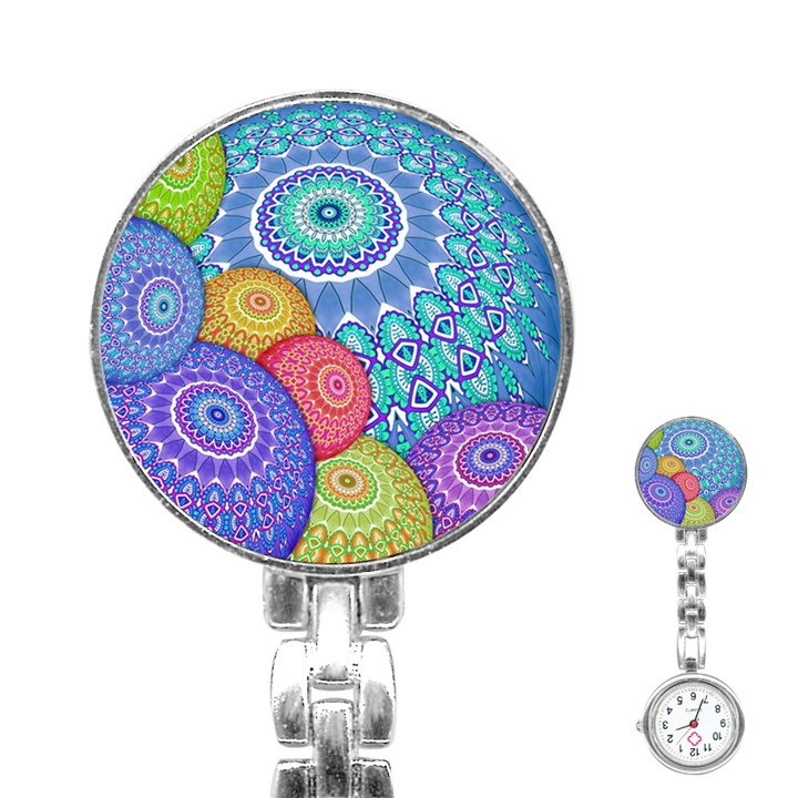 India Ornaments Mandala Balls Multicolored Stainless Steel Nurses Watch
