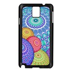 India Ornaments Mandala Balls Multicolored Samsung Galaxy Note 3 N9005 Case (Black) Front
