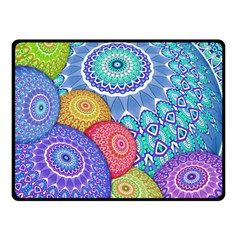 India Ornaments Mandala Balls Multicolored Double Sided Fleece Blanket (Small)