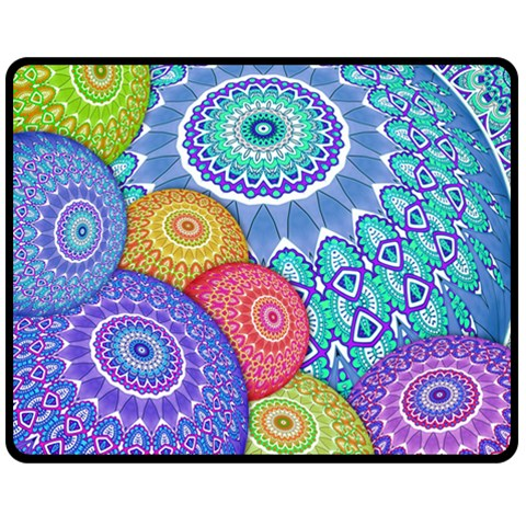 India Ornaments Mandala Balls Multicolored Double Sided Fleece Blanket (Medium)