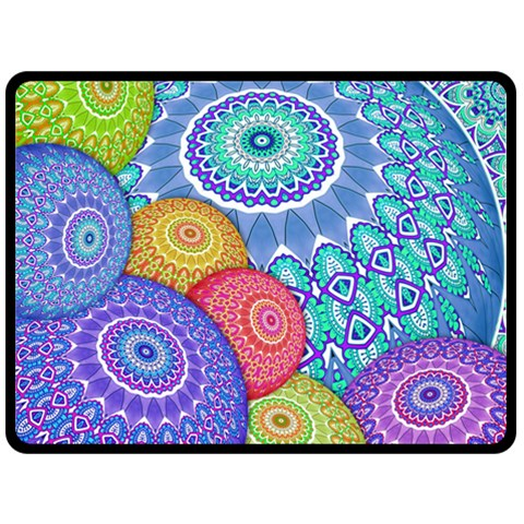 India Ornaments Mandala Balls Multicolored Double Sided Fleece Blanket (Large)