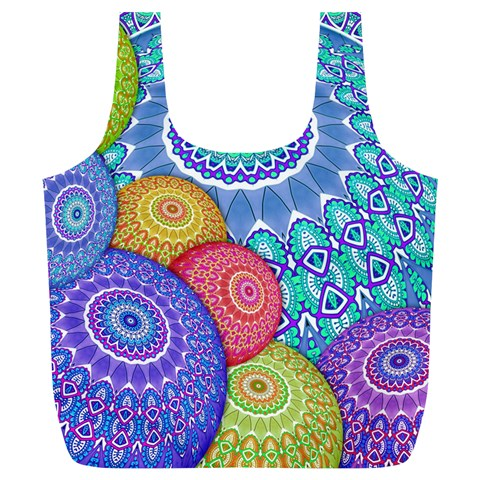 India Ornaments Mandala Balls Multicolored Full Print Recycle Bags (L)
