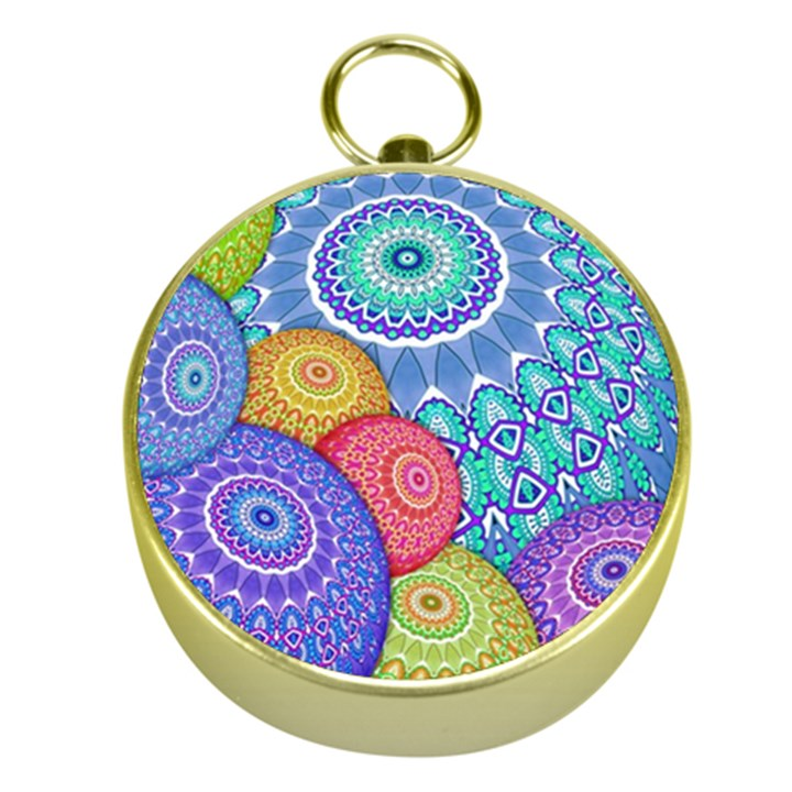India Ornaments Mandala Balls Multicolored Gold Compasses