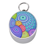 India Ornaments Mandala Balls Multicolored Mini Silver Compasses Front