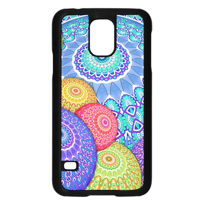 India Ornaments Mandala Balls Multicolored Samsung Galaxy S5 Case (Black)