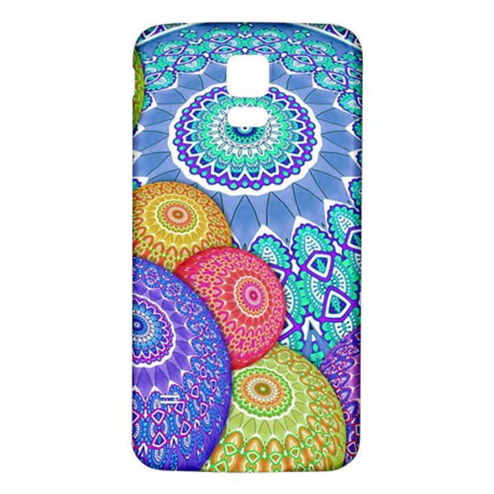 India Ornaments Mandala Balls Multicolored Samsung Galaxy S5 Back Case (White)
