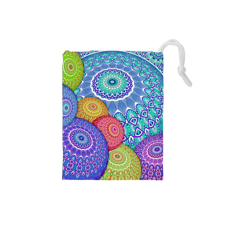 India Ornaments Mandala Balls Multicolored Drawstring Pouches (Small)