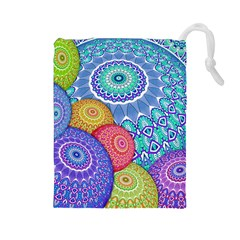 India Ornaments Mandala Balls Multicolored Drawstring Pouches (Large)