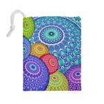 India Ornaments Mandala Balls Multicolored Drawstring Pouches (Large)  Back