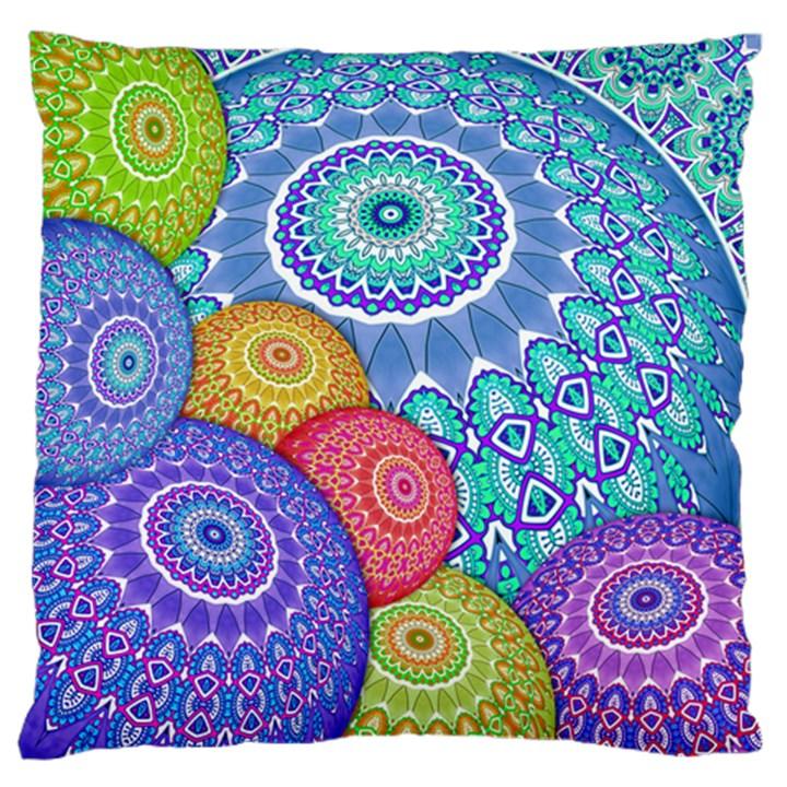 India Ornaments Mandala Balls Multicolored Large Flano Cushion Case (One Side)