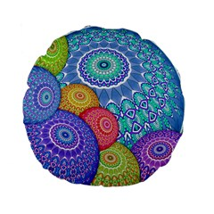 India Ornaments Mandala Balls Multicolored Standard 15  Premium Flano Round Cushions