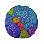 India Ornaments Mandala Balls Multicolored Standard 15  Premium Flano Round Cushions Back