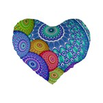 India Ornaments Mandala Balls Multicolored Standard 16  Premium Flano Heart Shape Cushions Front