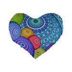 India Ornaments Mandala Balls Multicolored Standard 16  Premium Flano Heart Shape Cushions Back