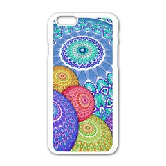 India Ornaments Mandala Balls Multicolored Apple iPhone 6/6S White Enamel Case