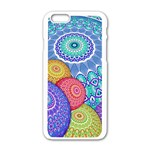India Ornaments Mandala Balls Multicolored Apple iPhone 6/6S White Enamel Case Front