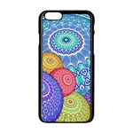 India Ornaments Mandala Balls Multicolored Apple iPhone 6/6S Black Enamel Case Front
