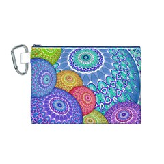 India Ornaments Mandala Balls Multicolored Canvas Cosmetic Bag (M)