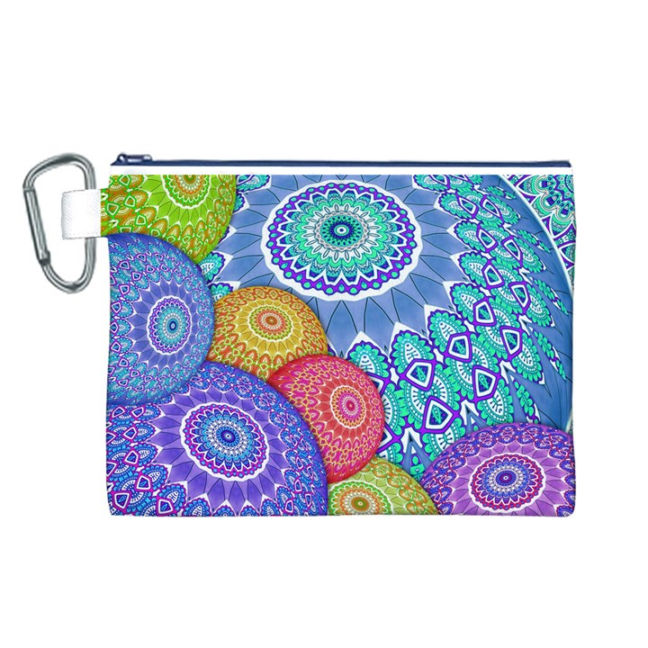 India Ornaments Mandala Balls Multicolored Canvas Cosmetic Bag (L)