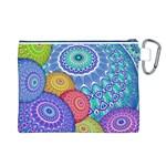 India Ornaments Mandala Balls Multicolored Canvas Cosmetic Bag (L) Back
