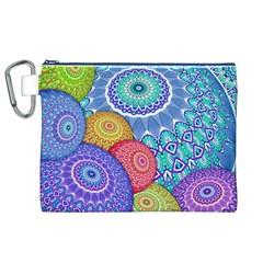 India Ornaments Mandala Balls Multicolored Canvas Cosmetic Bag (XL)