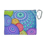 India Ornaments Mandala Balls Multicolored Canvas Cosmetic Bag (XL) Back