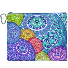 India Ornaments Mandala Balls Multicolored Canvas Cosmetic Bag (XXXL)