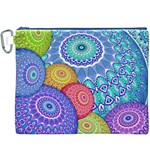 India Ornaments Mandala Balls Multicolored Canvas Cosmetic Bag (XXXL) Front