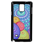 India Ornaments Mandala Balls Multicolored Samsung Galaxy Note 4 Case (Black) Front