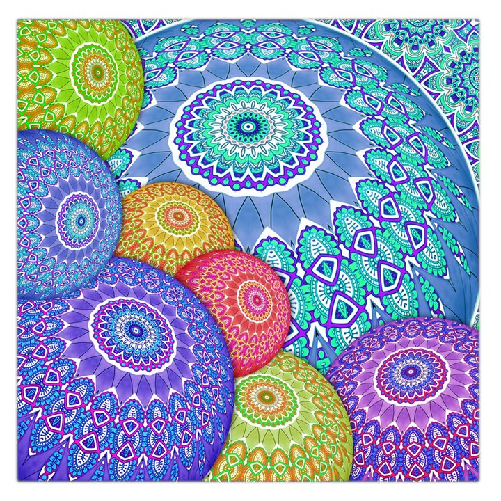 India Ornaments Mandala Balls Multicolored Large Satin Scarf (Square)