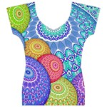 India Ornaments Mandala Balls Multicolored Women s V-Neck Cap Sleeve Top Front